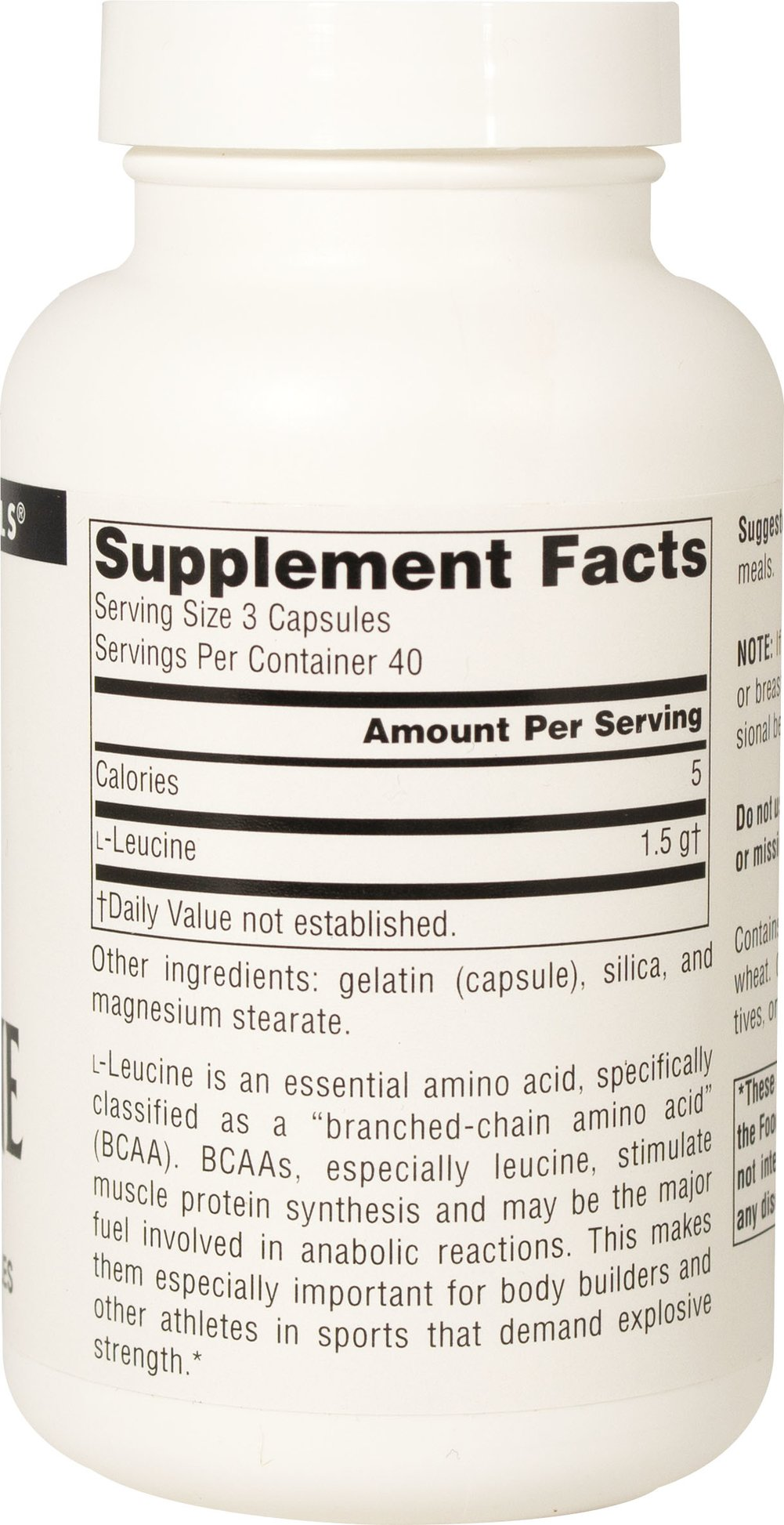 L-Leucine 500 mg Thumbnail Alternate Bottle View