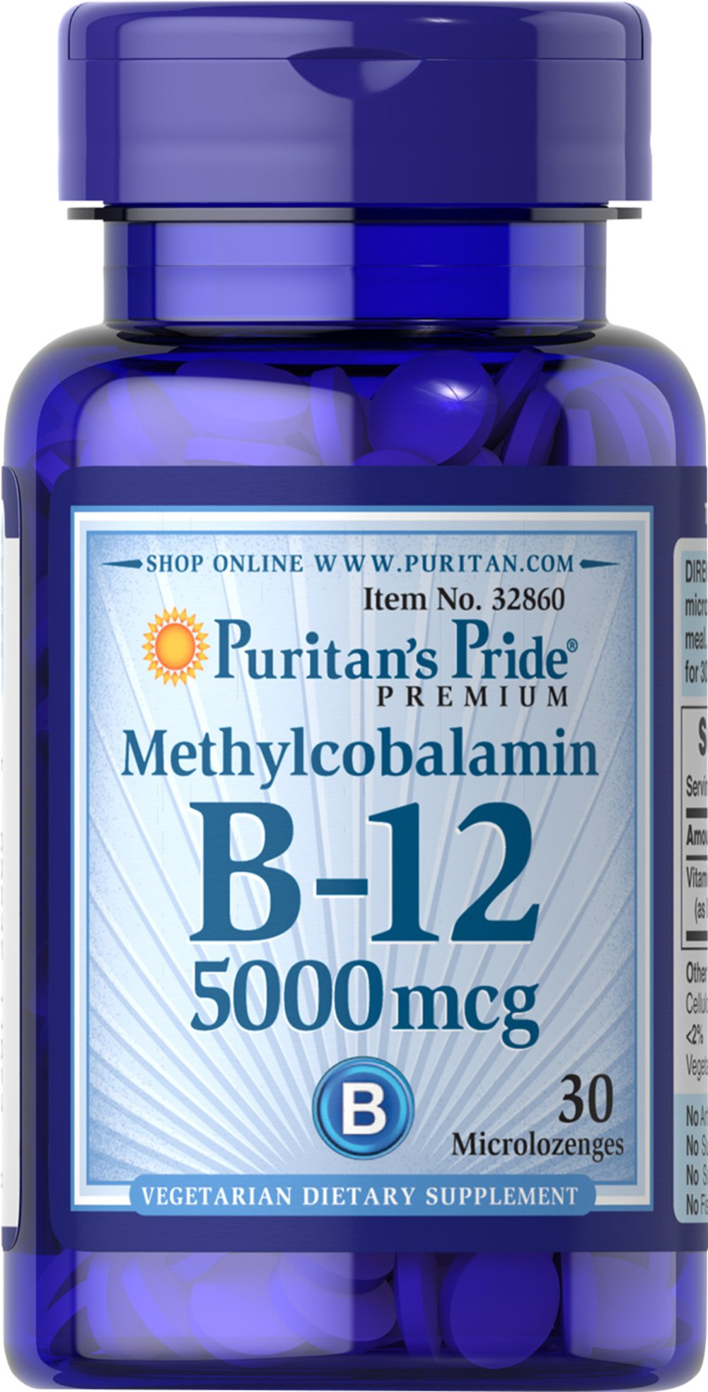 Methylcobalamin Vitamin B-12 5000 mcg Thumbnail Alternate Bottle View
