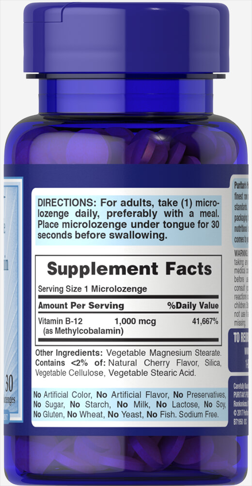 Methylcobalamin Vitamin B-12 1000 mcg Thumbnail Alternate Bottle View