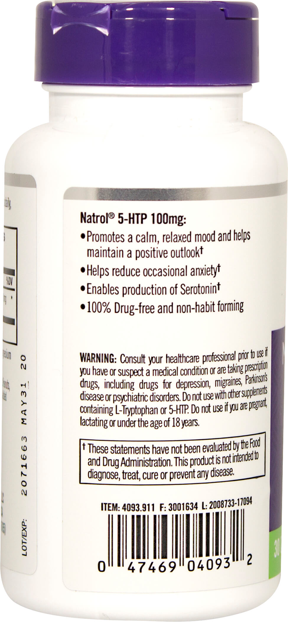 5-HTP 100 mg Thumbnail Alternate Bottle View