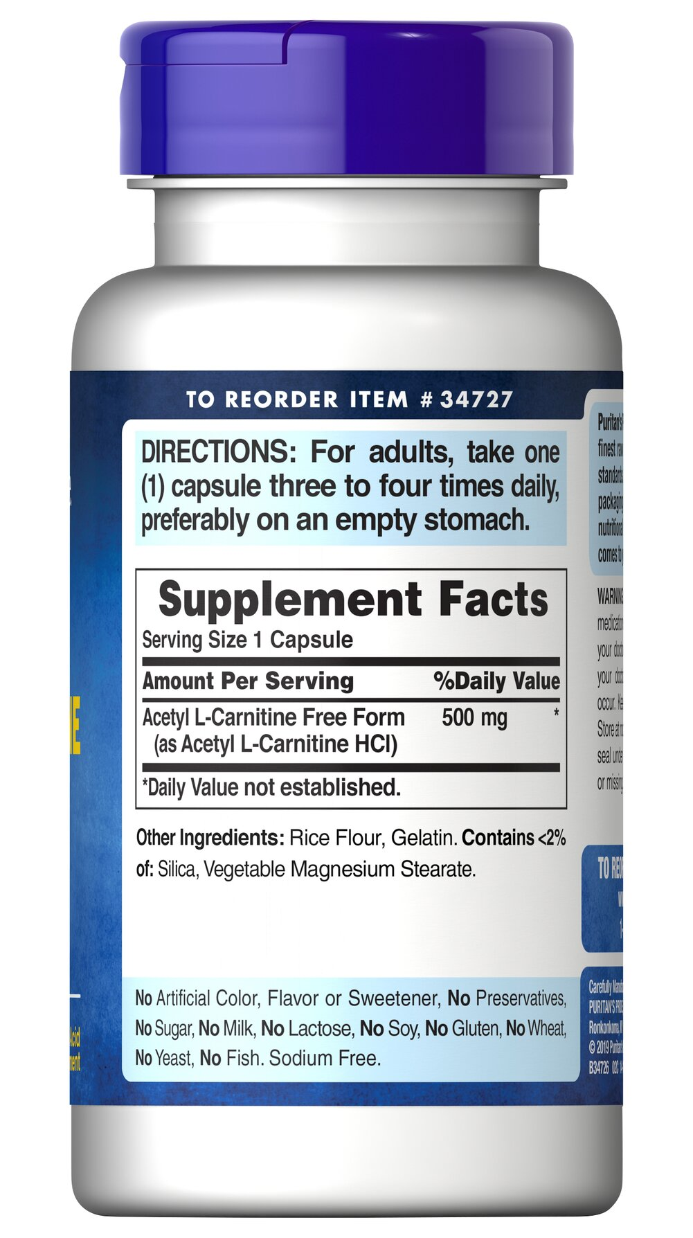 Acetyl L-Carnitine 500 mg Thumbnail Alternate Bottle View