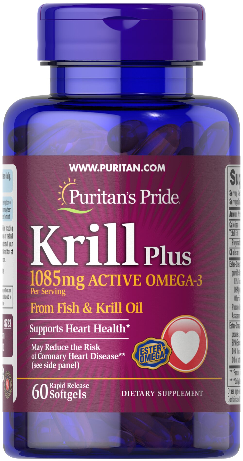 Krill Oil Plus High Omega-3 Concentrate 1085 mg Thumbnail Alternate Bottle View