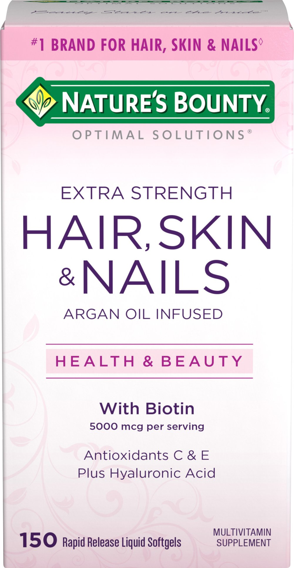 Hair, Skin and Nails Extra Strength with Argan Oil Thumbnail Alternate Bottle View