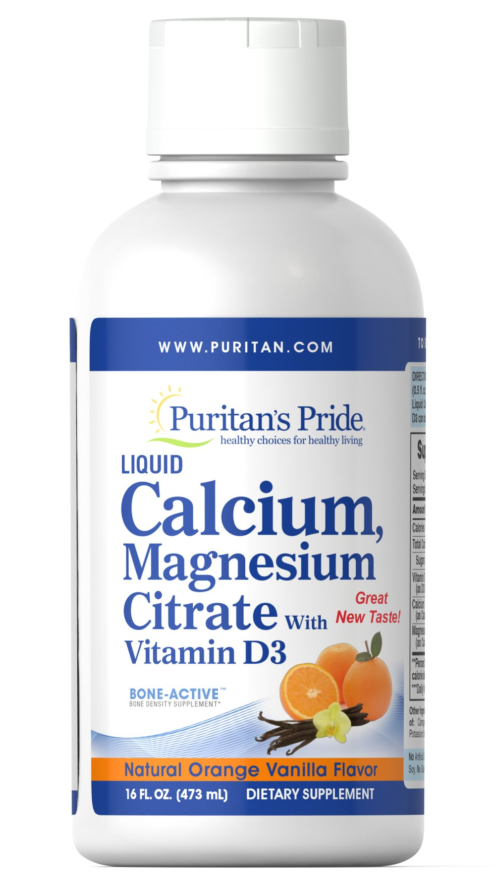 Liquid Calcium Magnesium with Vitamin D3 Orange Vanilla