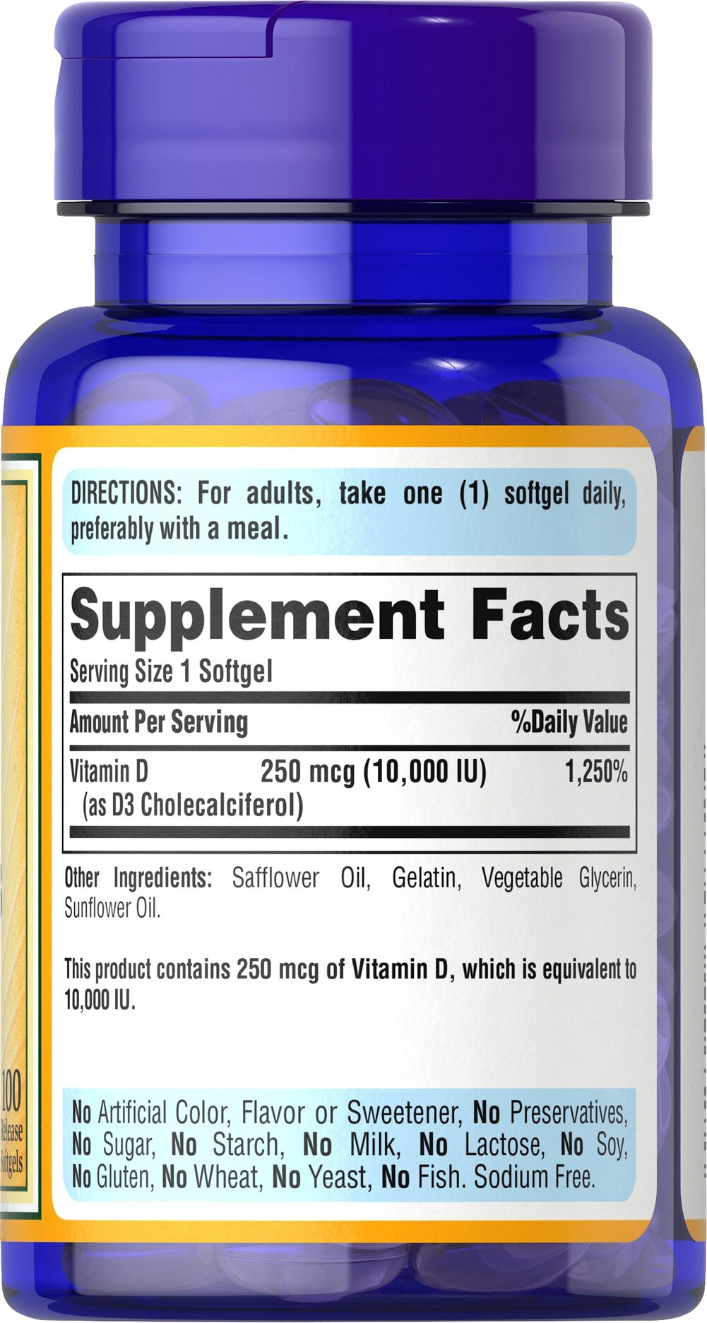 Vitamin D3 250 mcg (10,000 IU) Thumbnail Alternate Bottle View