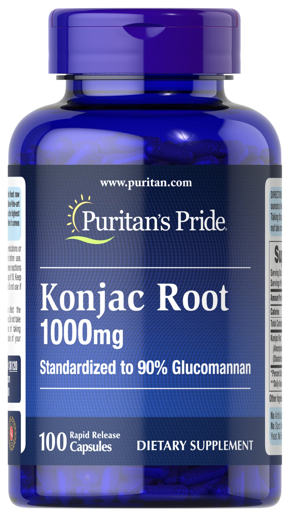 Konjac Root Glucomannan 1000 mg Thumbnail Alternate Bottle View
