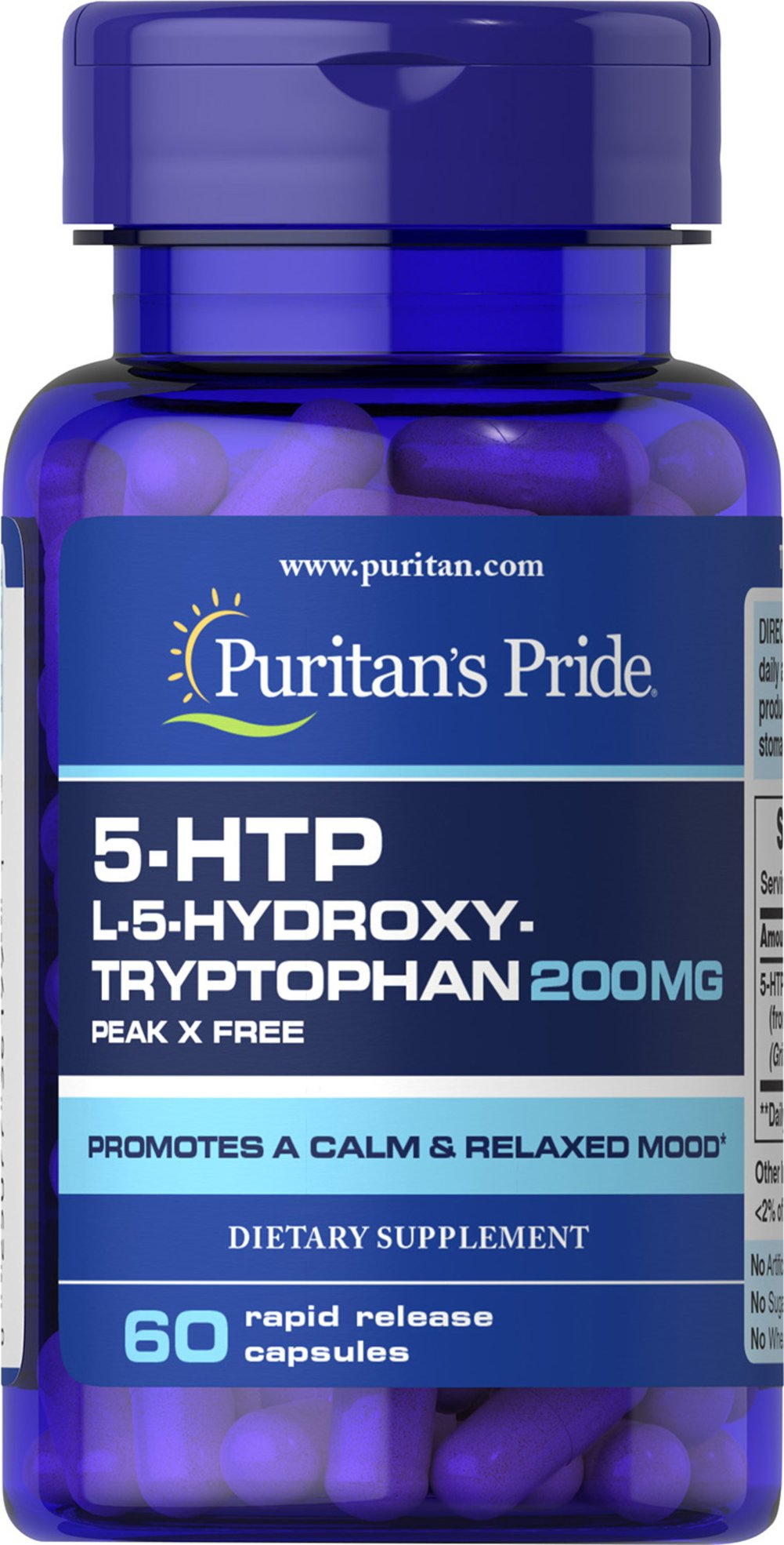 5-HTP 200 mg (Griffonia Simplicifolia) Thumbnail Alternate Bottle View