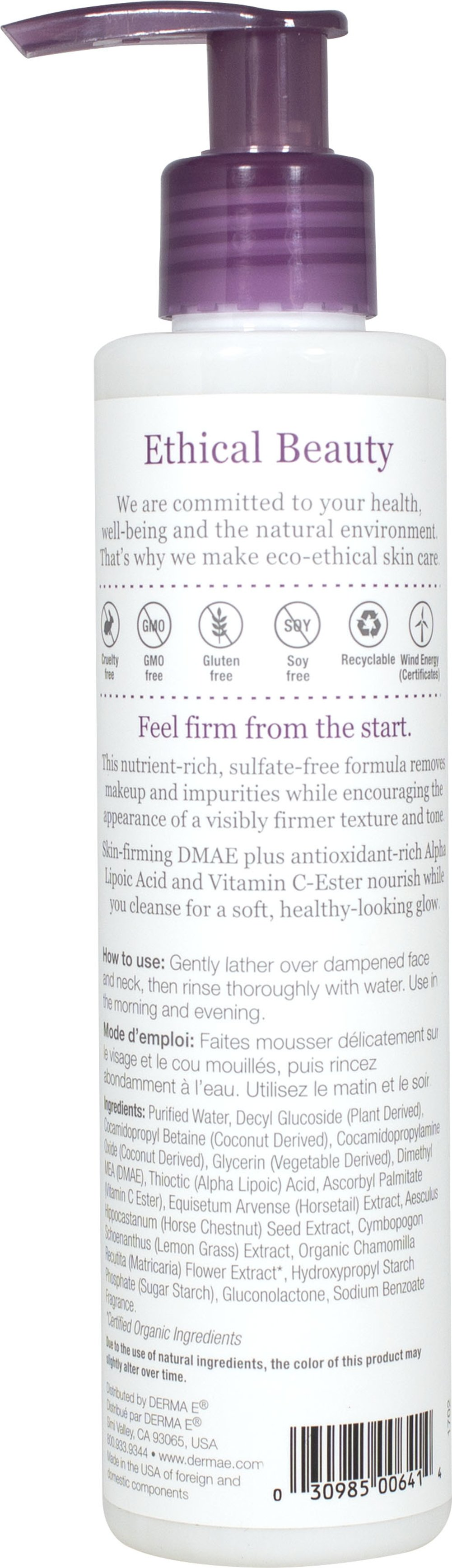 Derma E® DMAE, Alpha Lipoic, C-Ester Facial Cleanser Thumbnail Alternate Bottle View