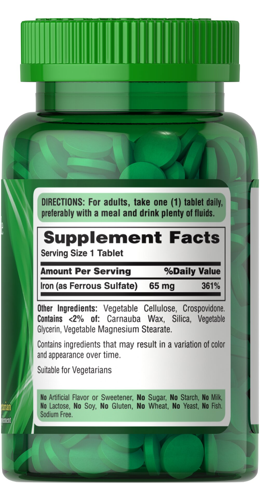 Iron 65 mg (Ferrous Sulfate 325 mg) Thumbnail Alternate Bottle View