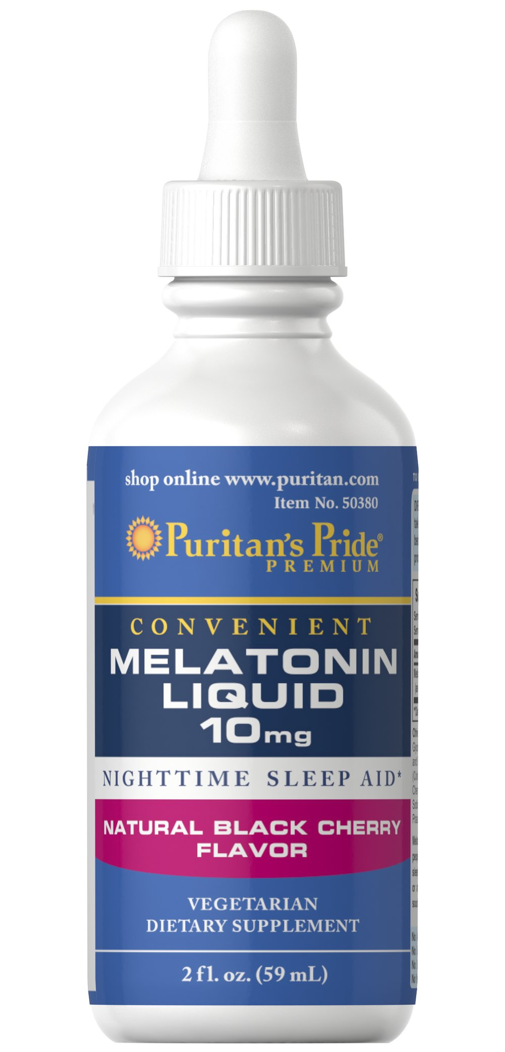 Melatonin Liquid 10 mg Black Cherry Flavor Thumbnail Alternate Bottle View