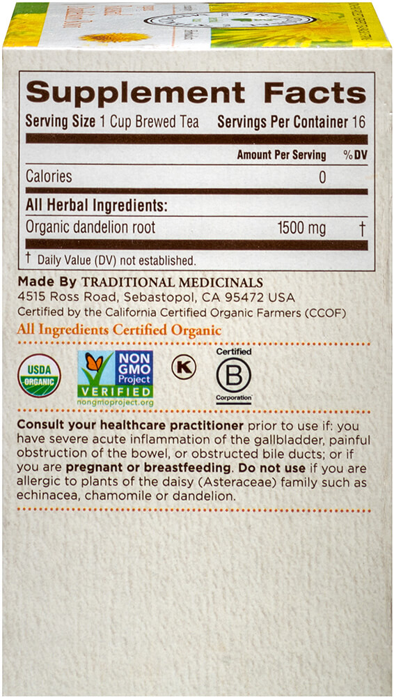 Organic Roasted Dandelion Root Tea Thumbnail Alternate Bottle View