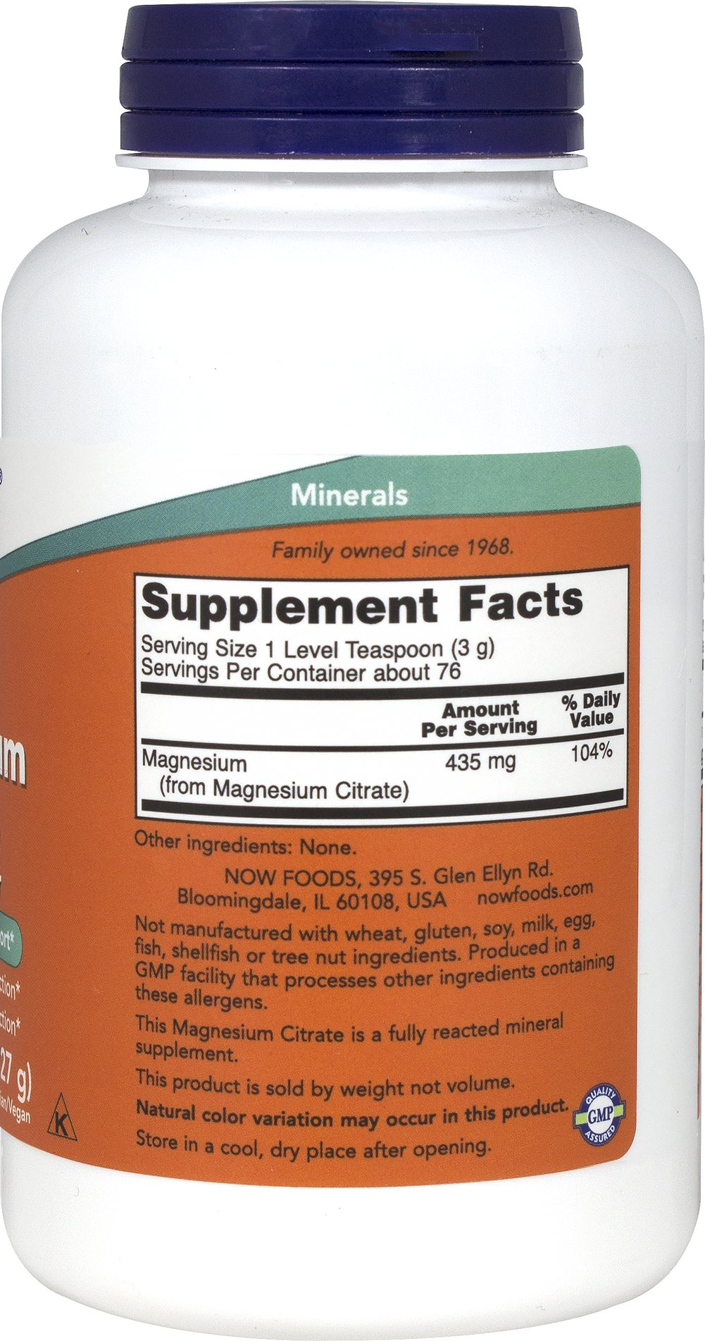 Magnesium Citrate Powder 227 grams Thumbnail Alternate Bottle View