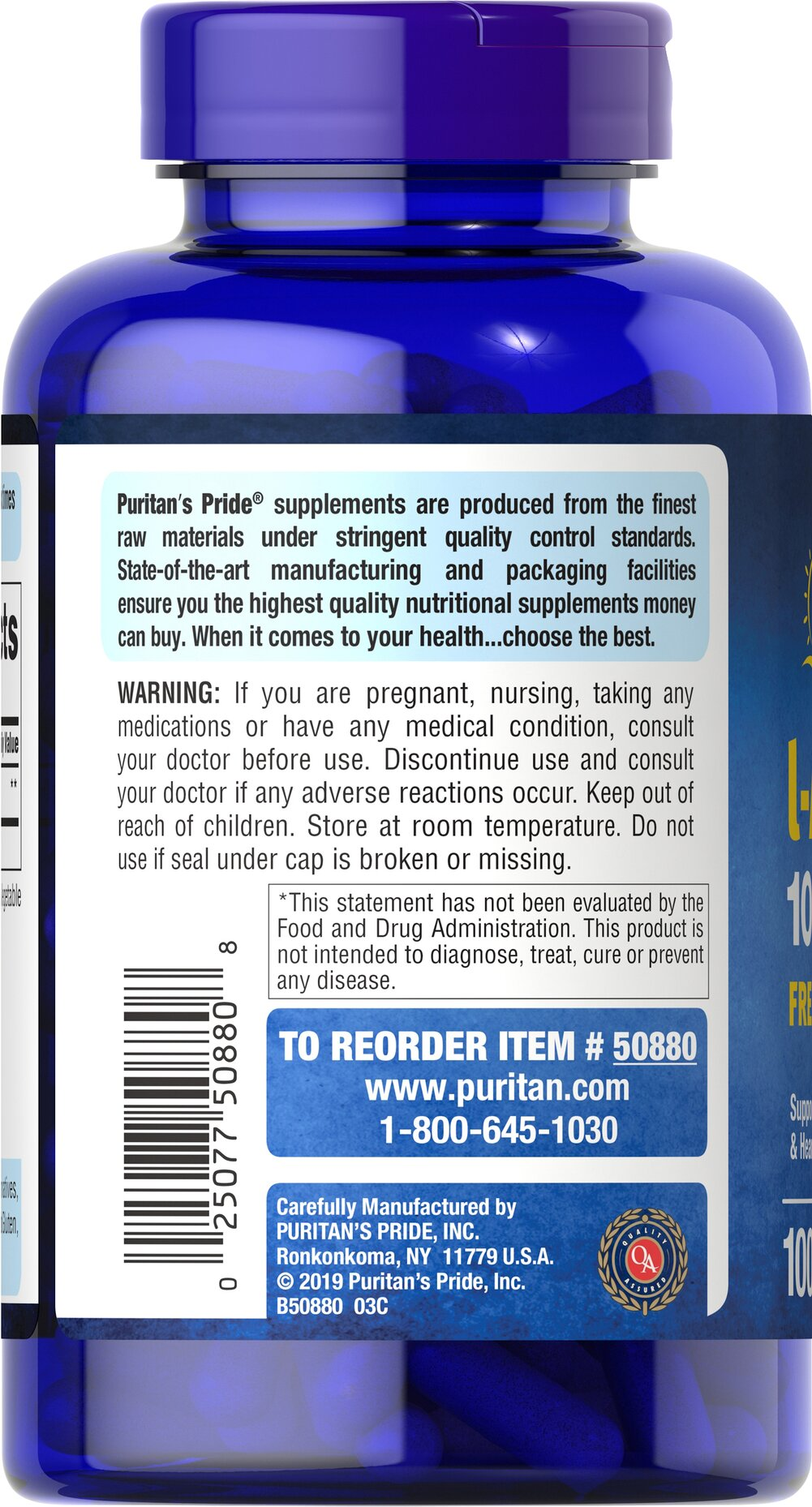 L-Arginine 1000 mg Thumbnail Alternate Bottle View