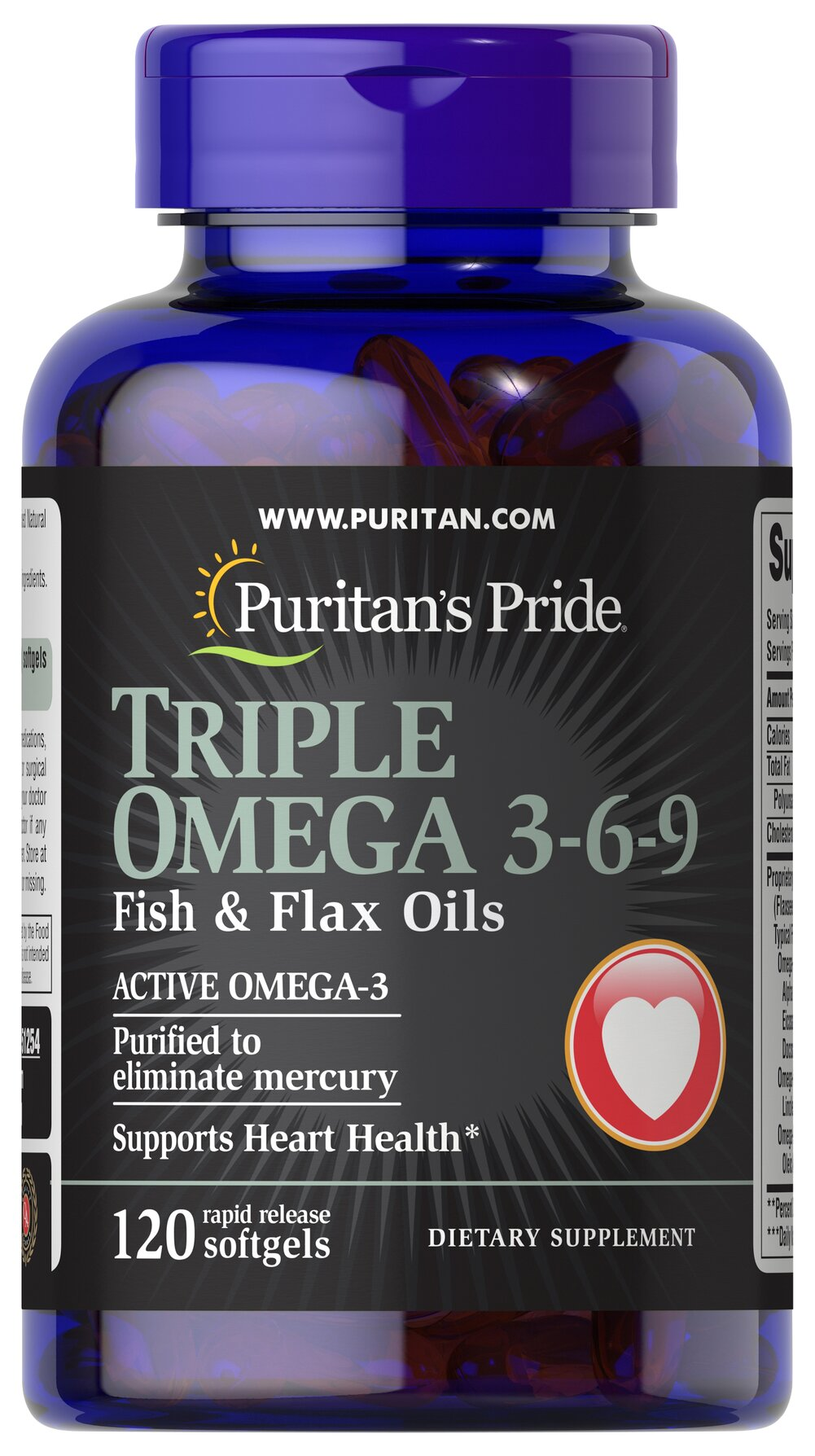 Triple Omega 3 6 9 Fish Flax Oils 120 Softgels Puritan S Pride