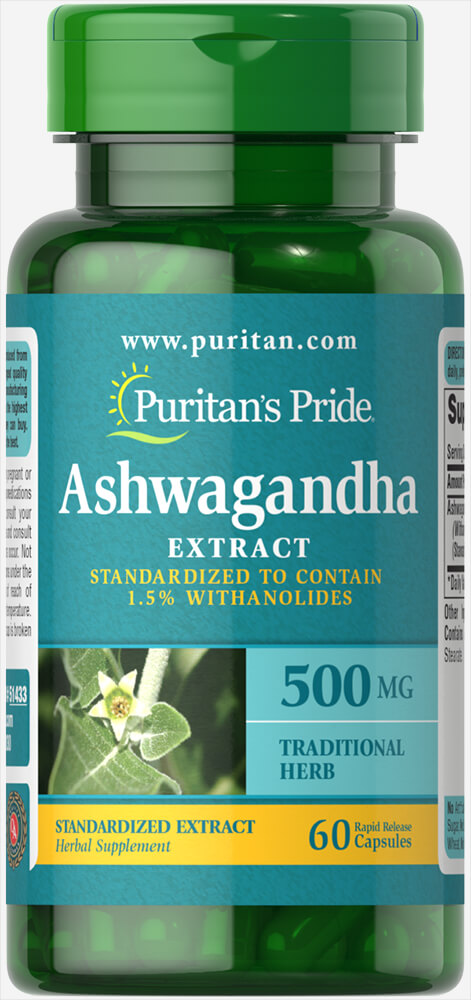 Ashwagandha Standardized Extract 500 mg Thumbnail Alternate Bottle View