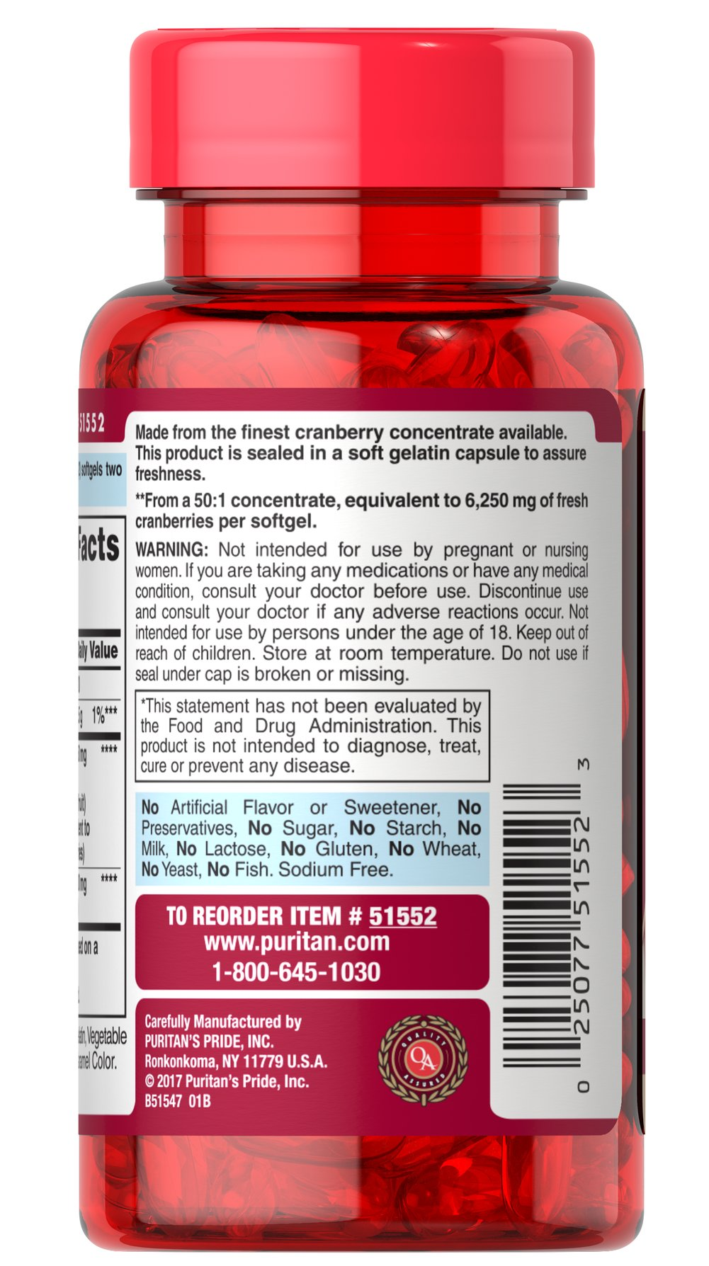Cranberry Fruit Concentrate Plus Hibiscus Extract 6250 mg / 50 mg Thumbnail Alternate Bottle View