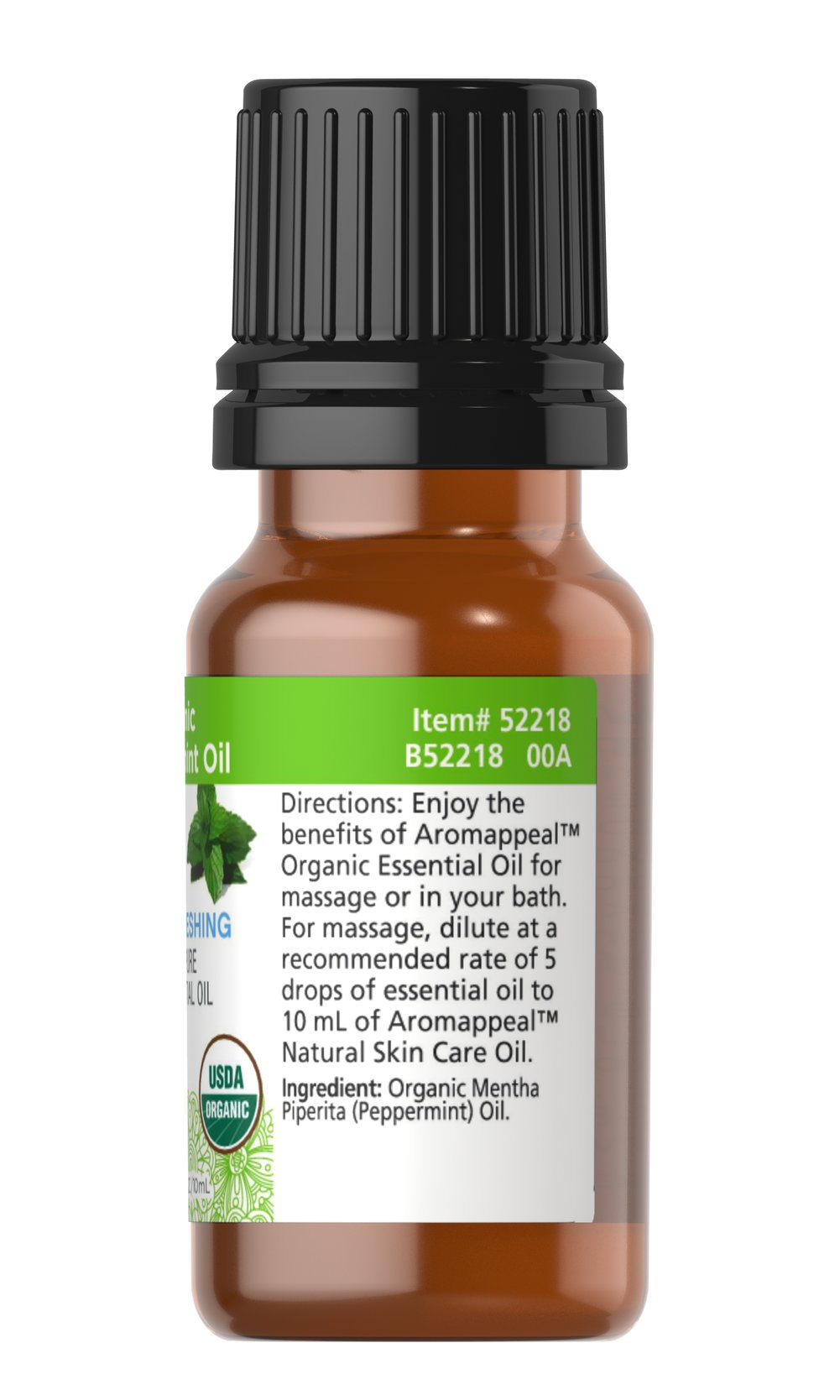 Organic Peppermint 100% Pure Essential Oil Thumbnail Alternate Bottle View