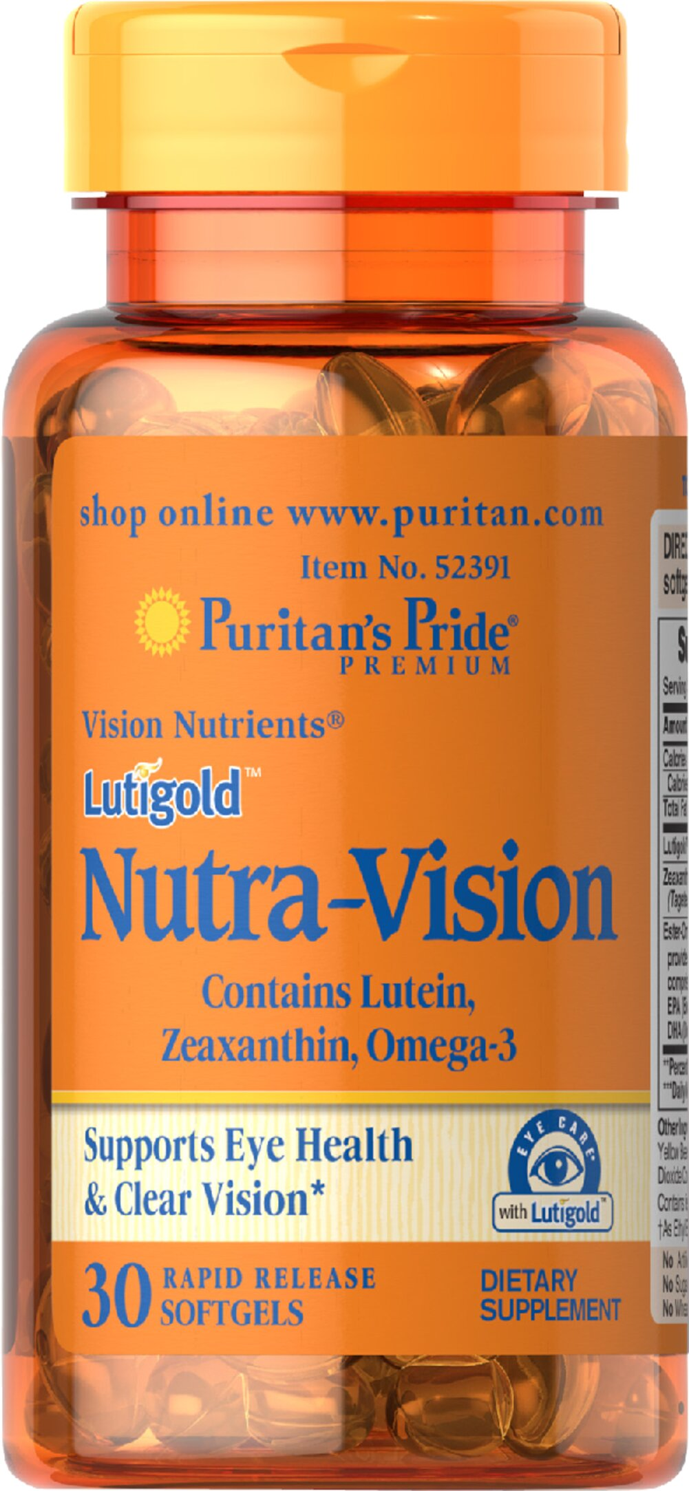 Lutigold™ Nutra-Vision with Lutein, Zeaxanthin & Omega-3 Thumbnail Alternate Bottle View