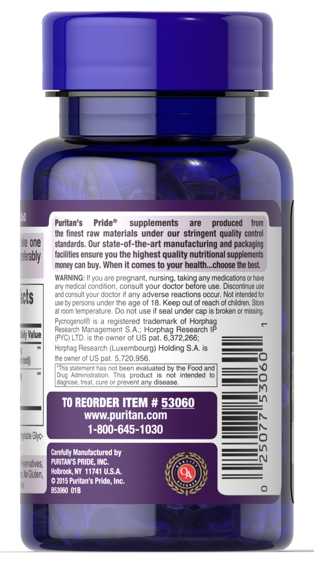 Resveratrol 100 mg & Pycnogenol® 30 mg Thumbnail Alternate Bottle View
