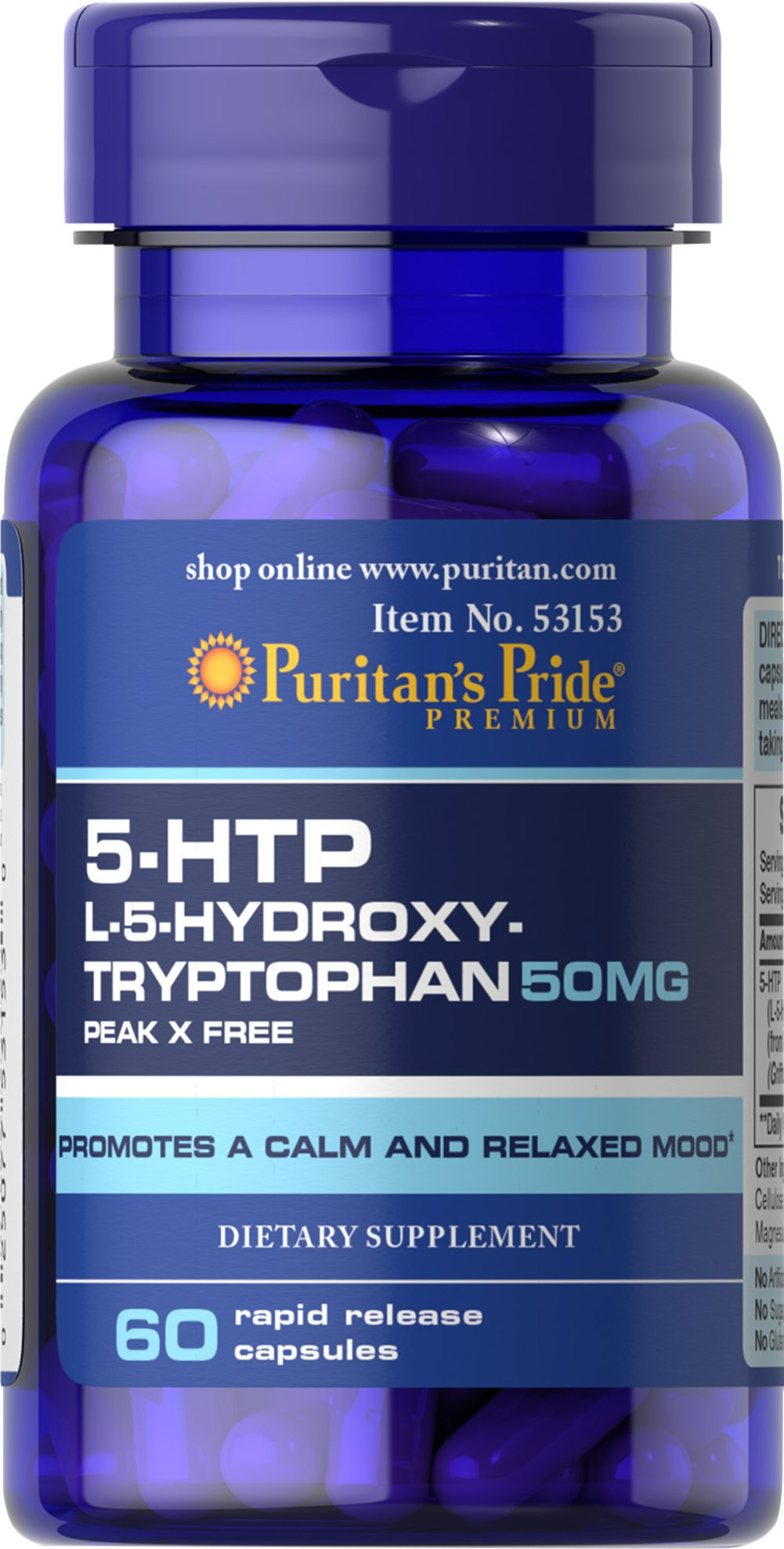 5-HTP 50 mg (Griffonia Simplicifolia) Thumbnail Alternate Bottle View