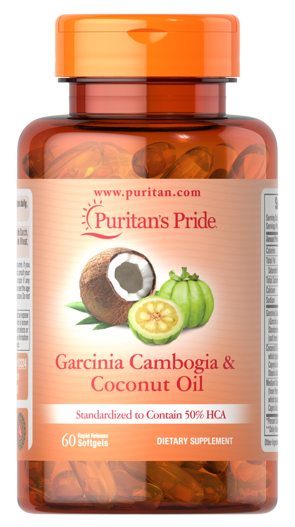 Garcinia Cambogia 500 mg plus Coconut Oil 500mg Thumbnail Alternate Bottle View