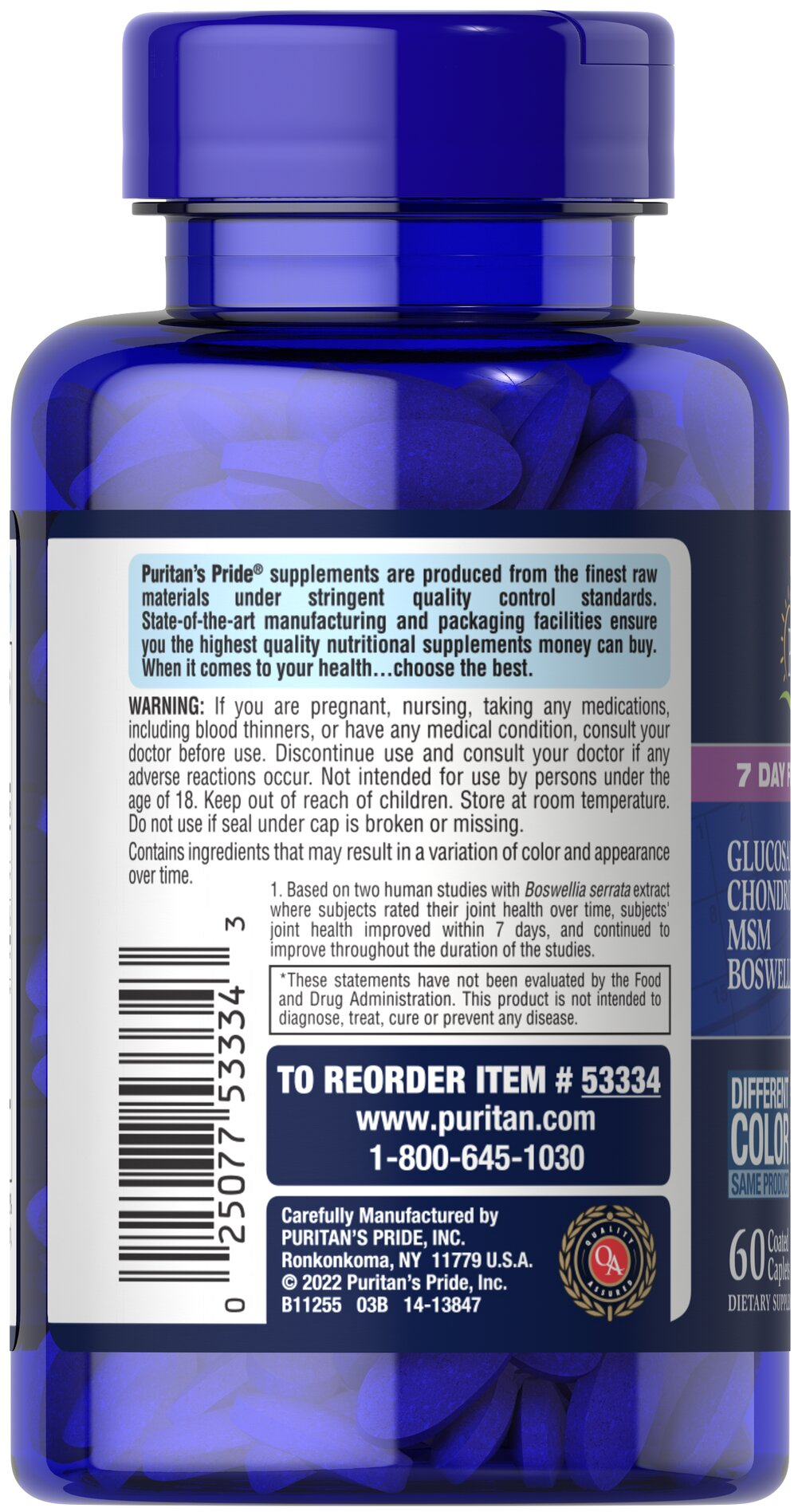 7 Day Formula Joint Soother® Glucosamine, Chondroitin, MSM & Boswellia Thumbnail Alternate Bottle View