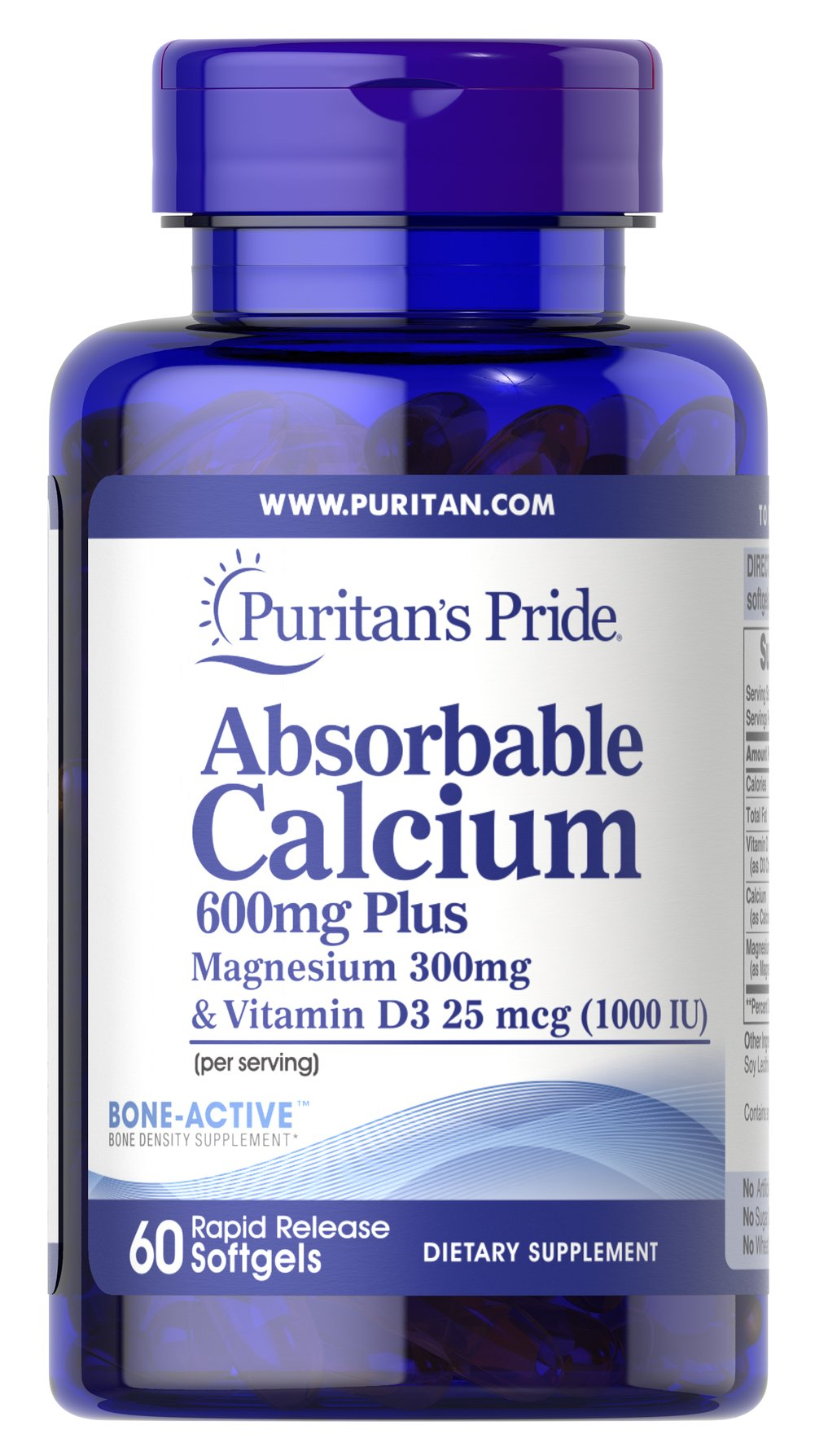 Absorbable Calcium 600mg plus Magnesium 300mg & Vitamin D 1000iu Thumbnail Alternate Bottle View