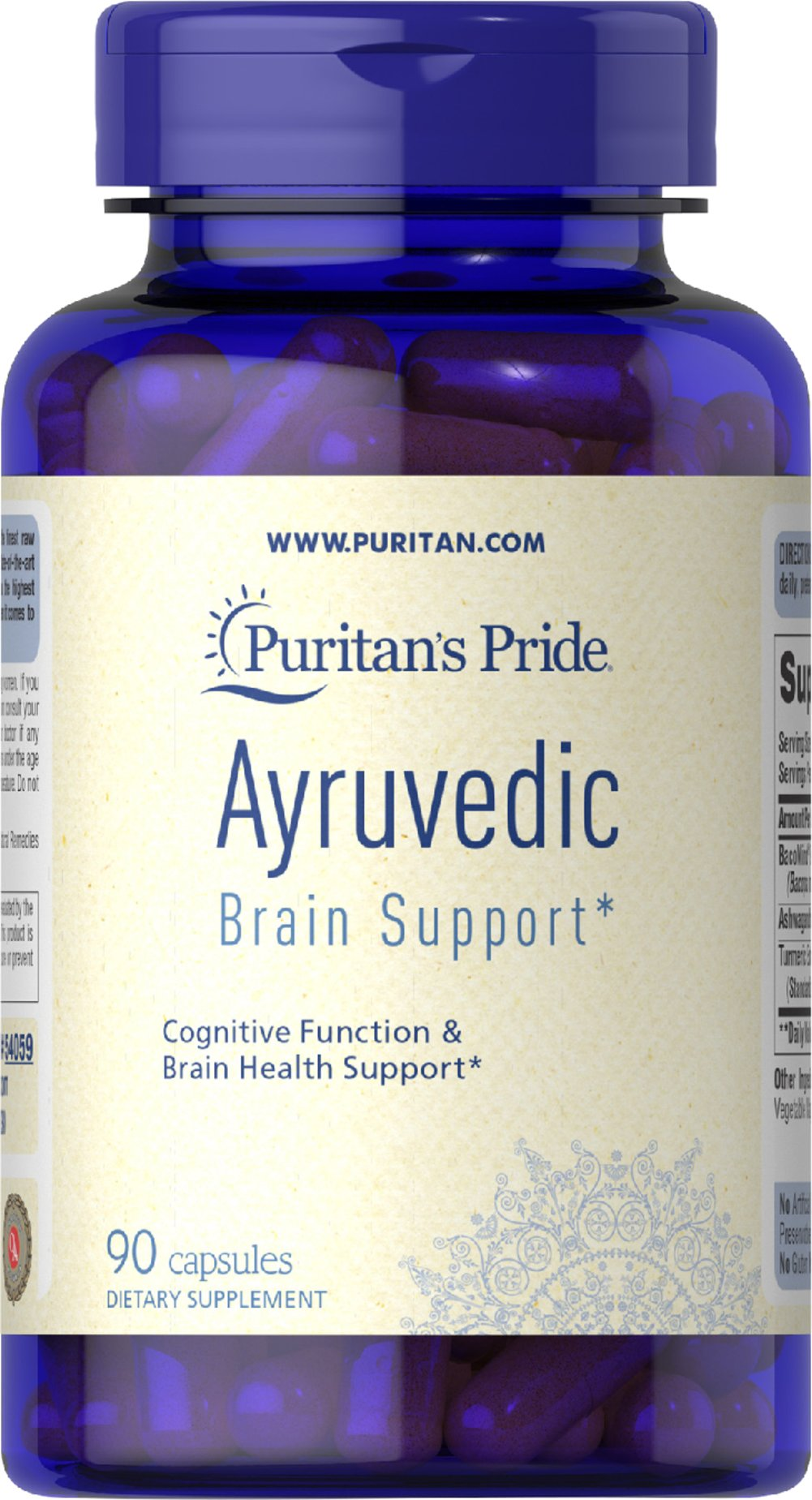 Ayurvedic Brain Health Support Bacopa, Ashwagandha, Turmeric Thumbnail Alternate Bottle View