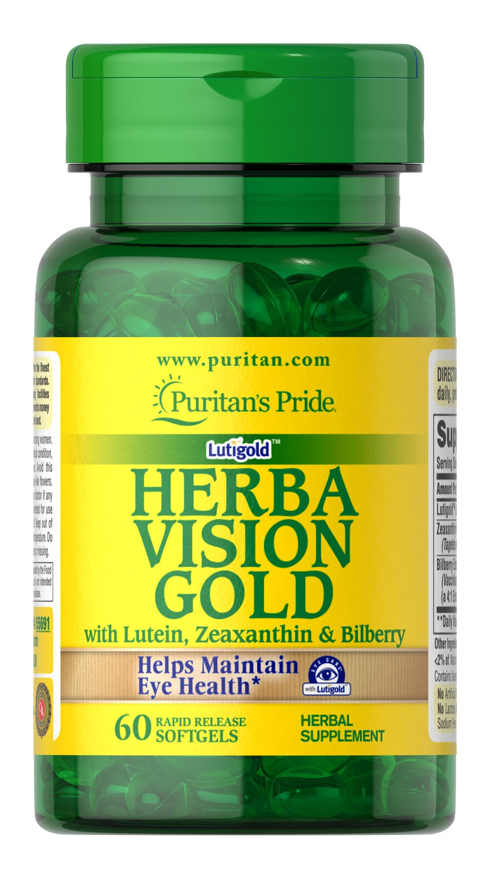 Herbavision Gold with Lutein,  Bilberry and Zeaxanthin Thumbnail Alternate Bottle View