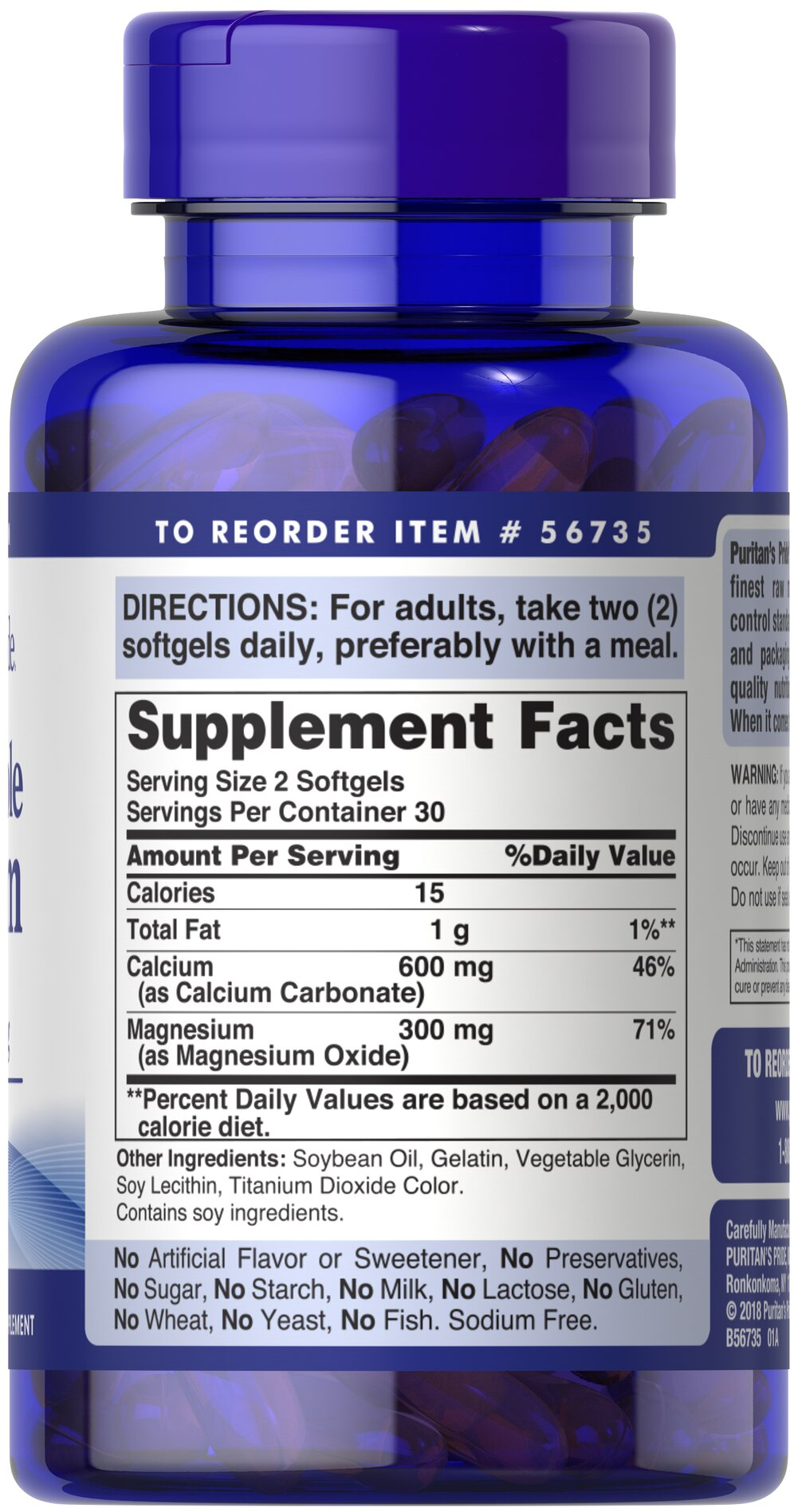 Absorbable Calcium 600 mg plus Magnesium 300 mg Thumbnail Alternate Bottle View