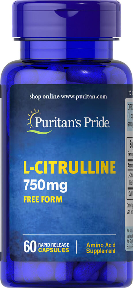 increase nitric oxide with Puritan's Pride L-Citrulline 750mg Free Form-60 Capsules