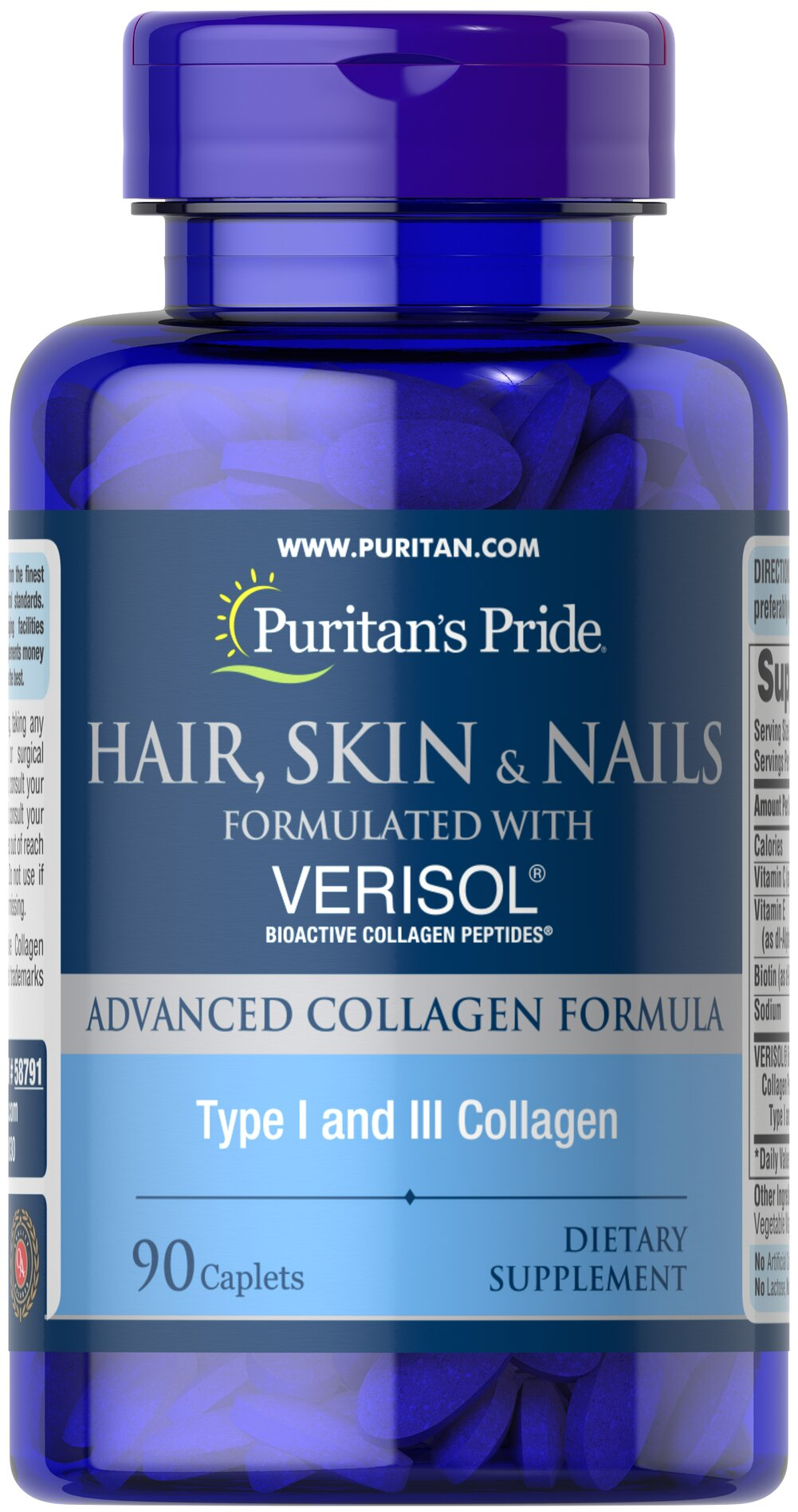 Beauty Care Hair Skin And Nails Formulated With Verisol Puritan Triple Strength Glucosamine Chondroitin Msm 90 Caplets