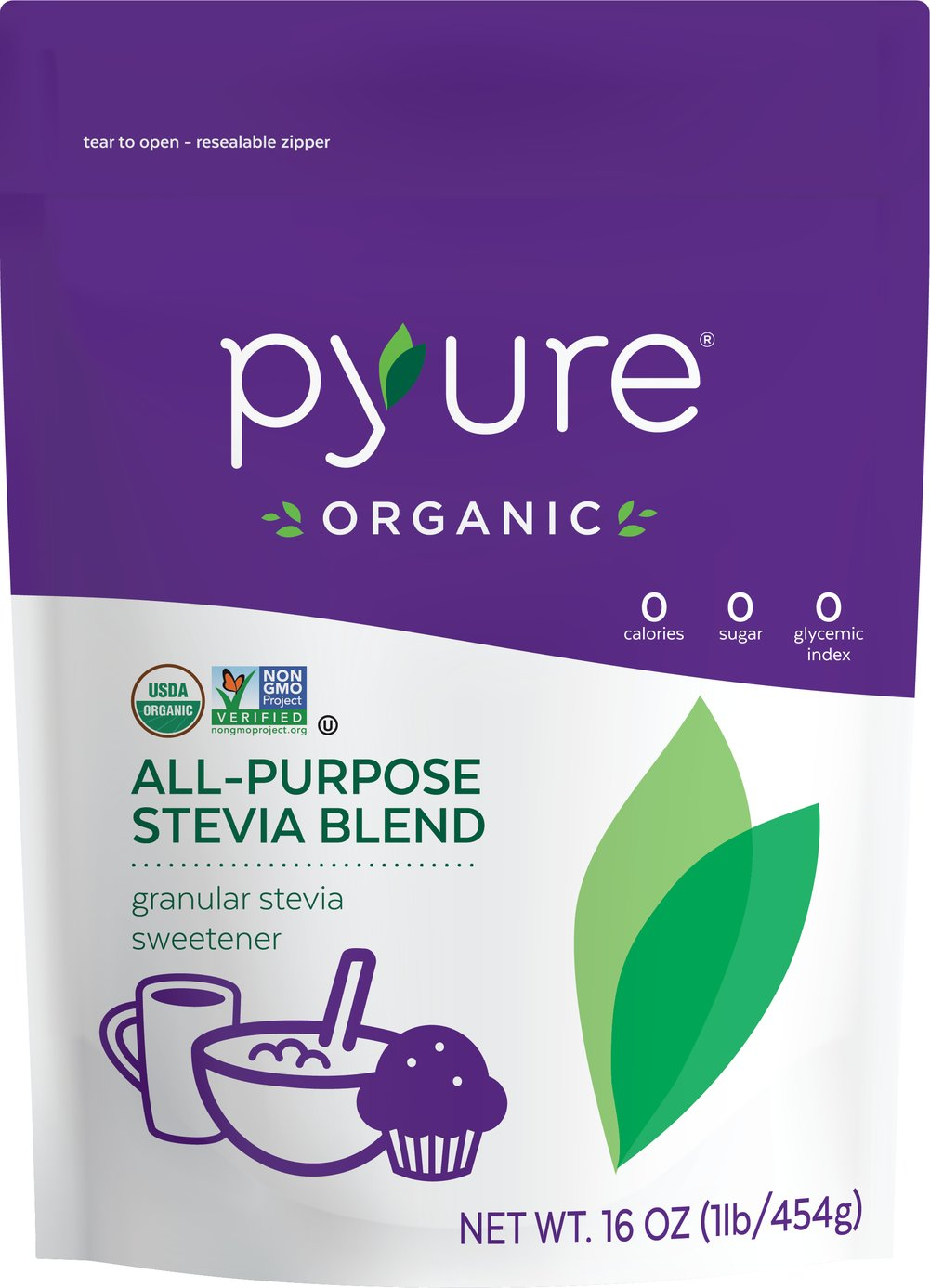 Organic Stevia All Purpose Sweetener Thumbnail Alternate Bottle View
