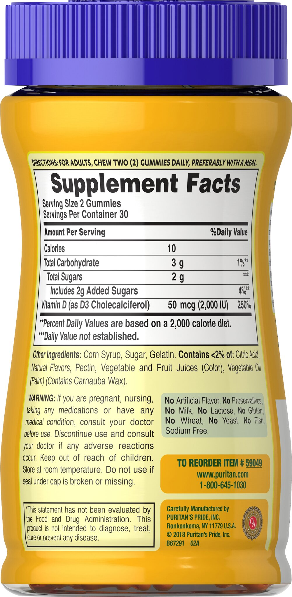 Vitamin D3 2000 IU (per serving) Gummies