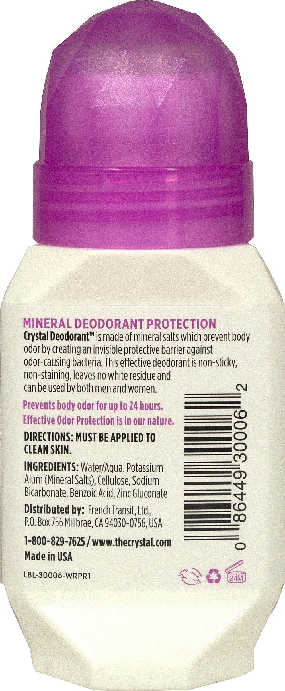 Crystal® Deodorant Roll-On Thumbnail Alternate Bottle View