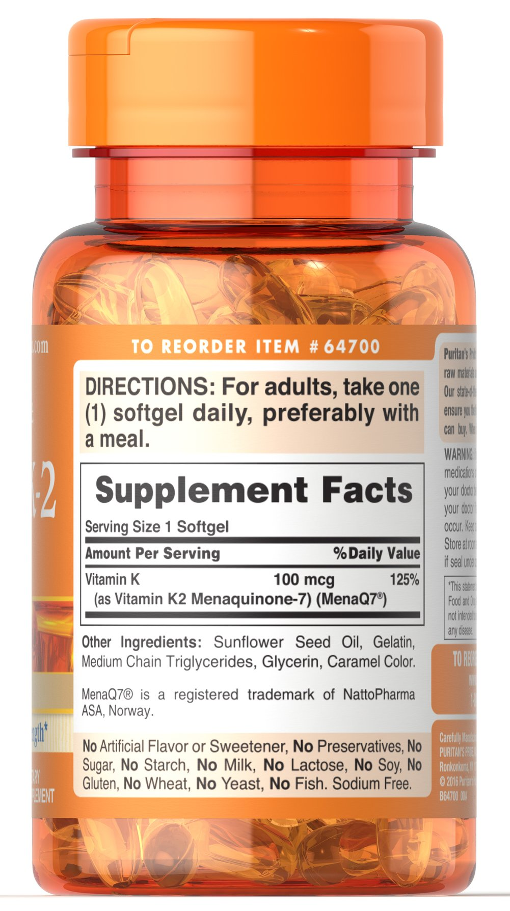 Vitamin K-2 (MenaQ7) 100 mcg Thumbnail Alternate Bottle View