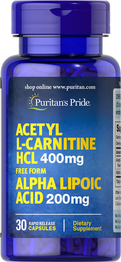 Acetyl L-Carnitine 400 mg with Alpha Lipoic Acid 200 mg Thumbnail Alternate Bottle View