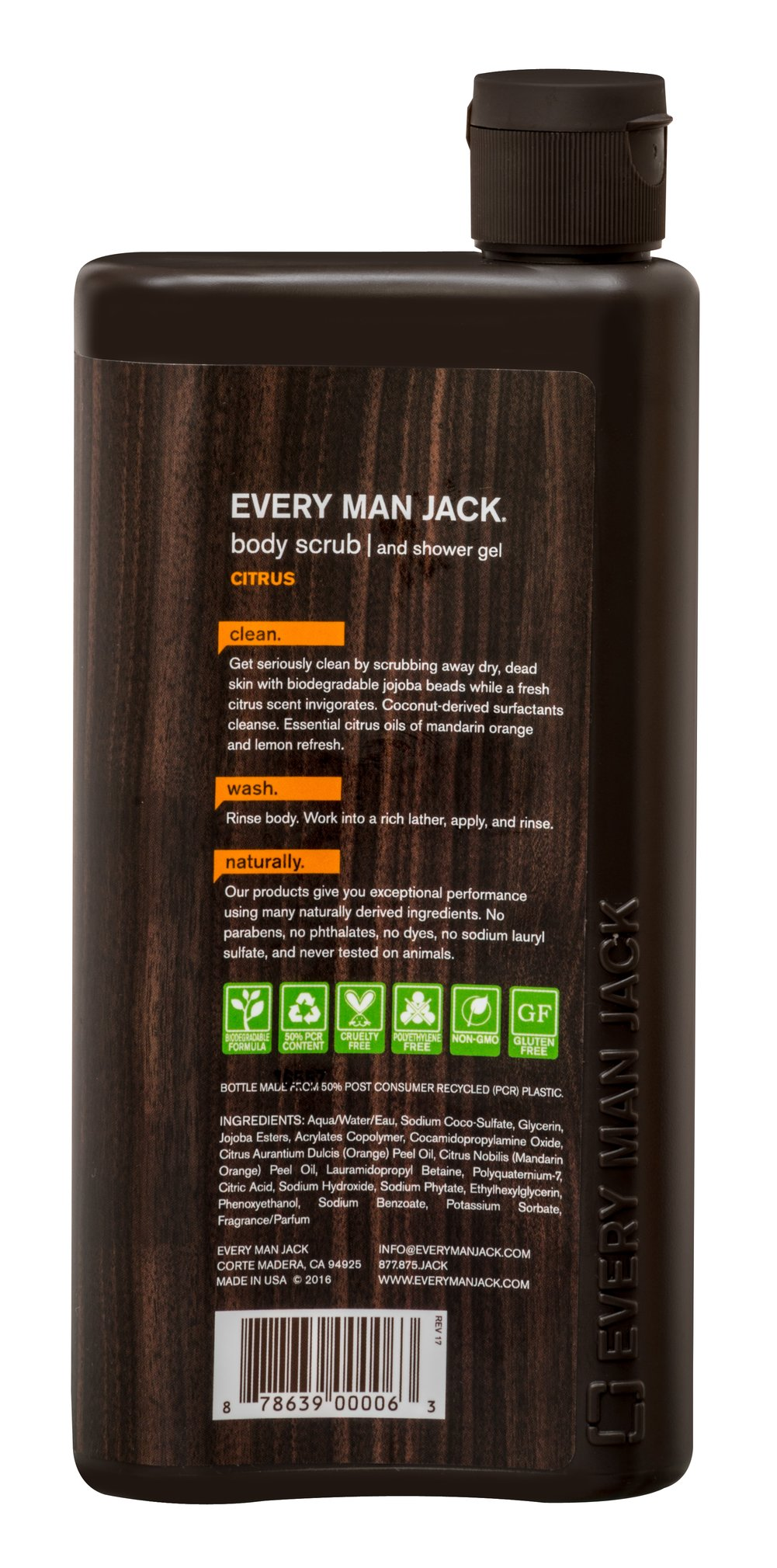 Every Man Jack® Citrus Scrub Body Wash & Shower Gel Thumbnail Alternate Bottle View