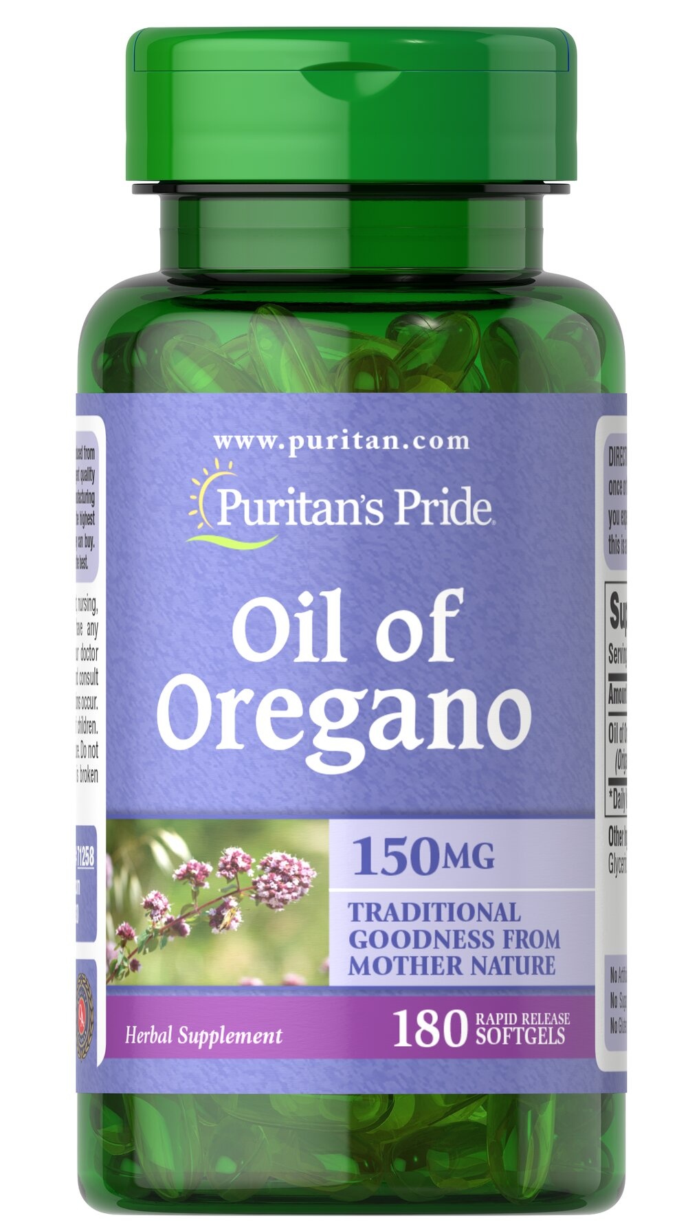 Oil of Oregano 150 mg (1,500mg equivalent*) Thumbnail Alternate Bottle View