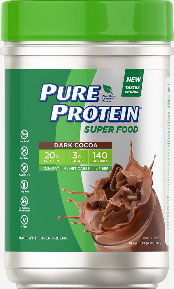 Pure Protein® Super Food Plant-Based Protein Powder, Dark Chocolate