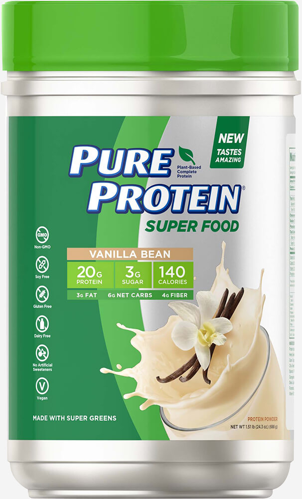 Pure Protein® Super Food Plant-Based Protein Powder, Vanilla Bean