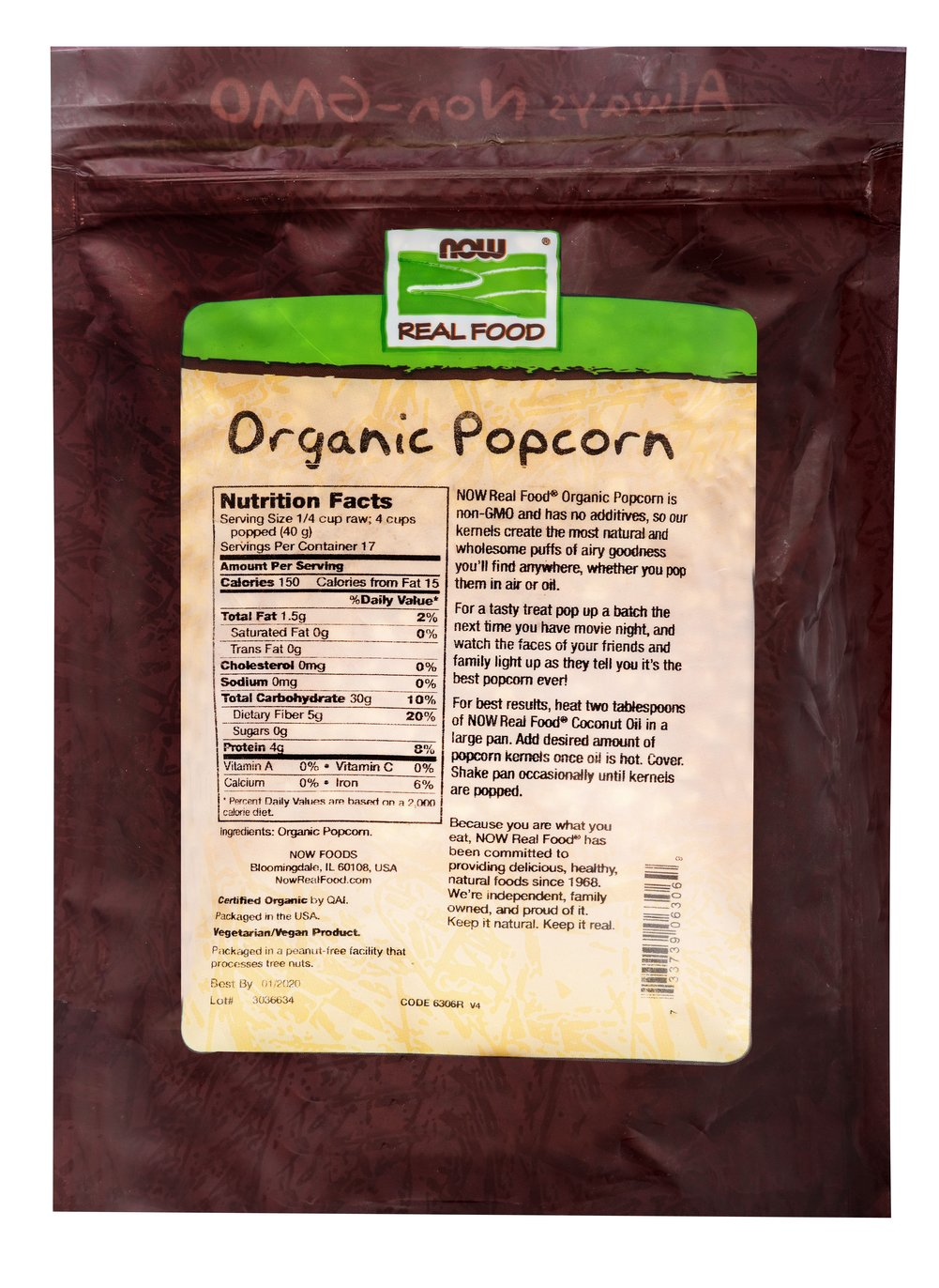 Organic Popcorn Thumbnail Alternate Bottle View