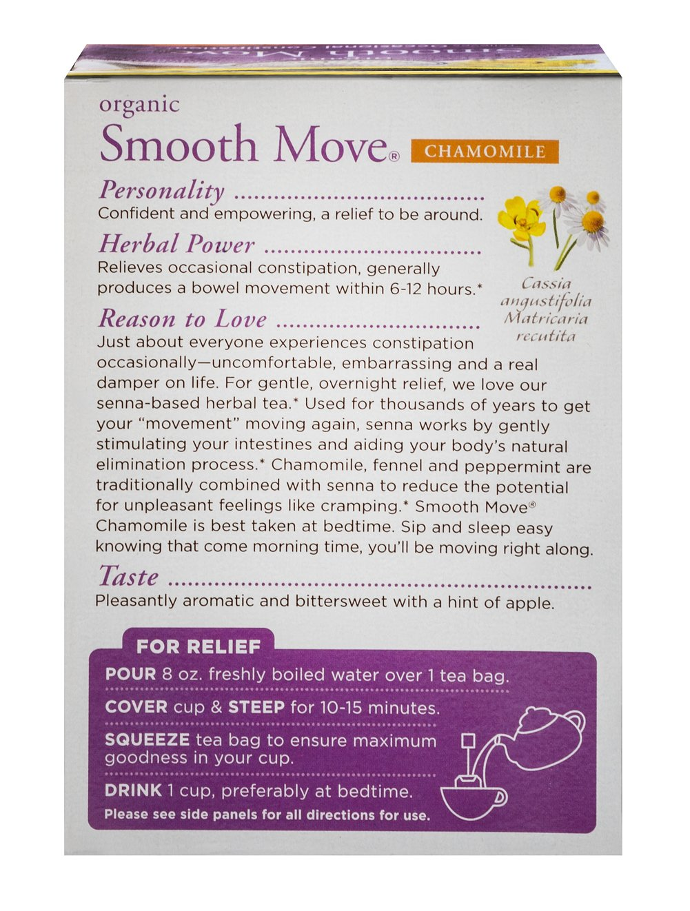 Organic Smooth Move® Chamomile Tea Thumbnail Alternate Bottle View