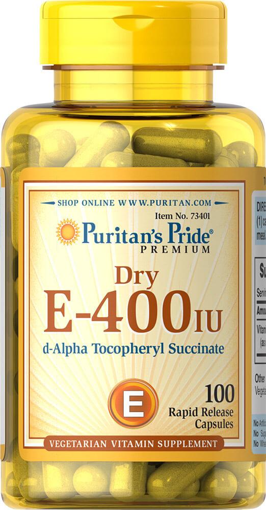 Puritan's Pride Vitamin E -Dry 400 IU Natural-100 Capsules–Puritans Pride-Cash Back