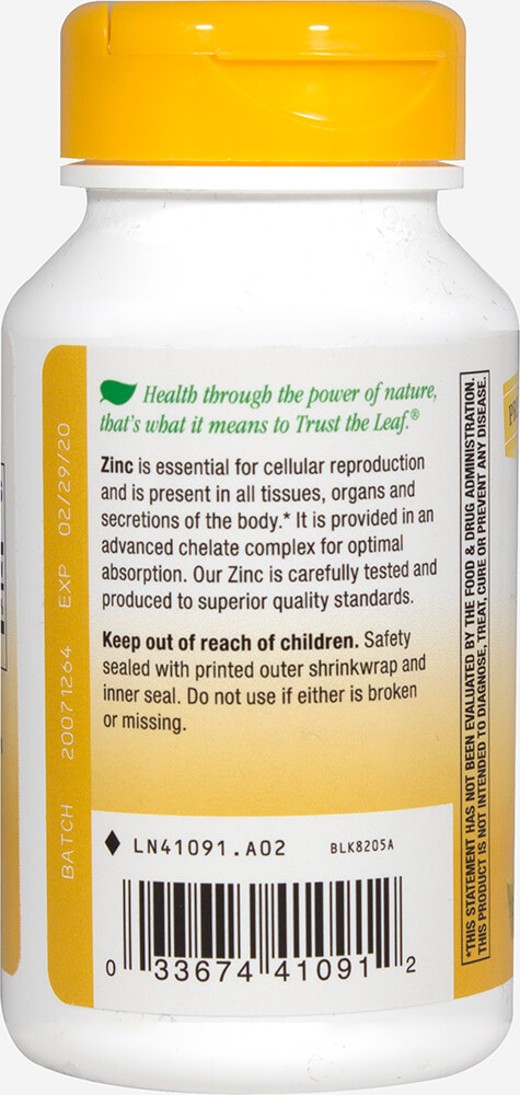 Zinc 30 mg Chelate Thumbnail Alternate Bottle View