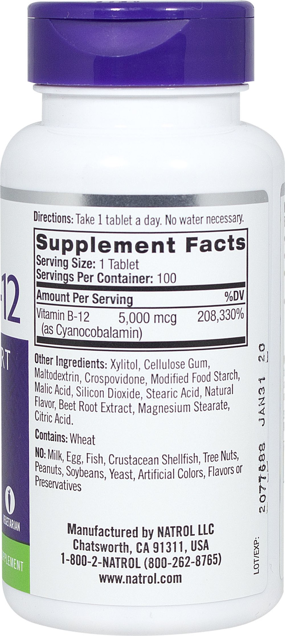 Vitamin B-12 5000 mcg Fast Dissolve Thumbnail Alternate Bottle View
