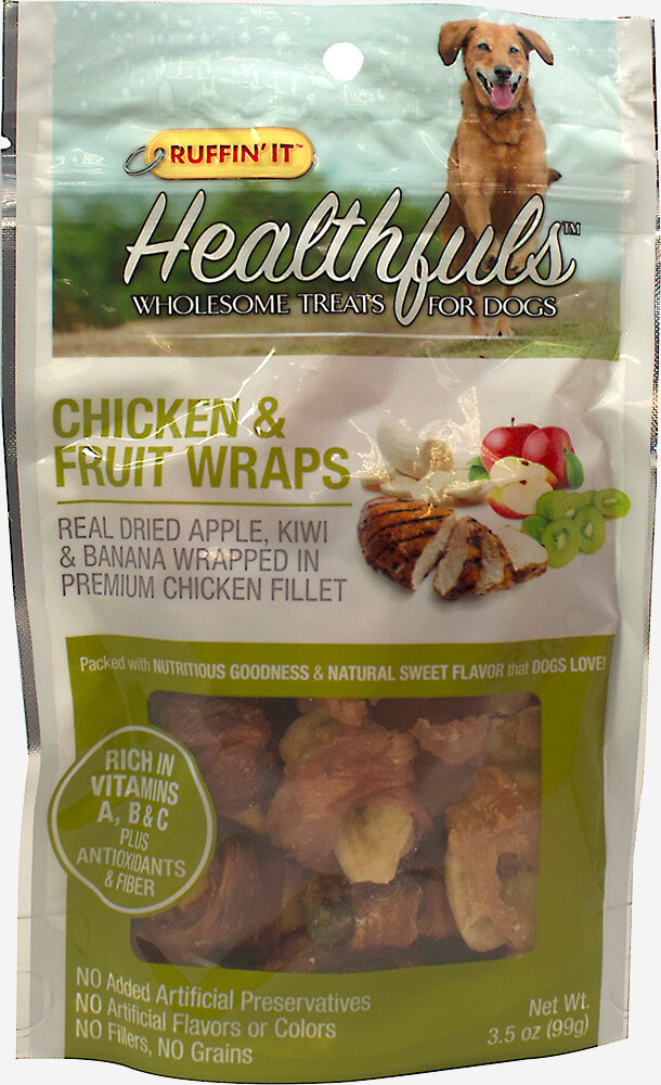 Healthfuls Wholesome Treats for Dogs Chicken & Fruit Wraps