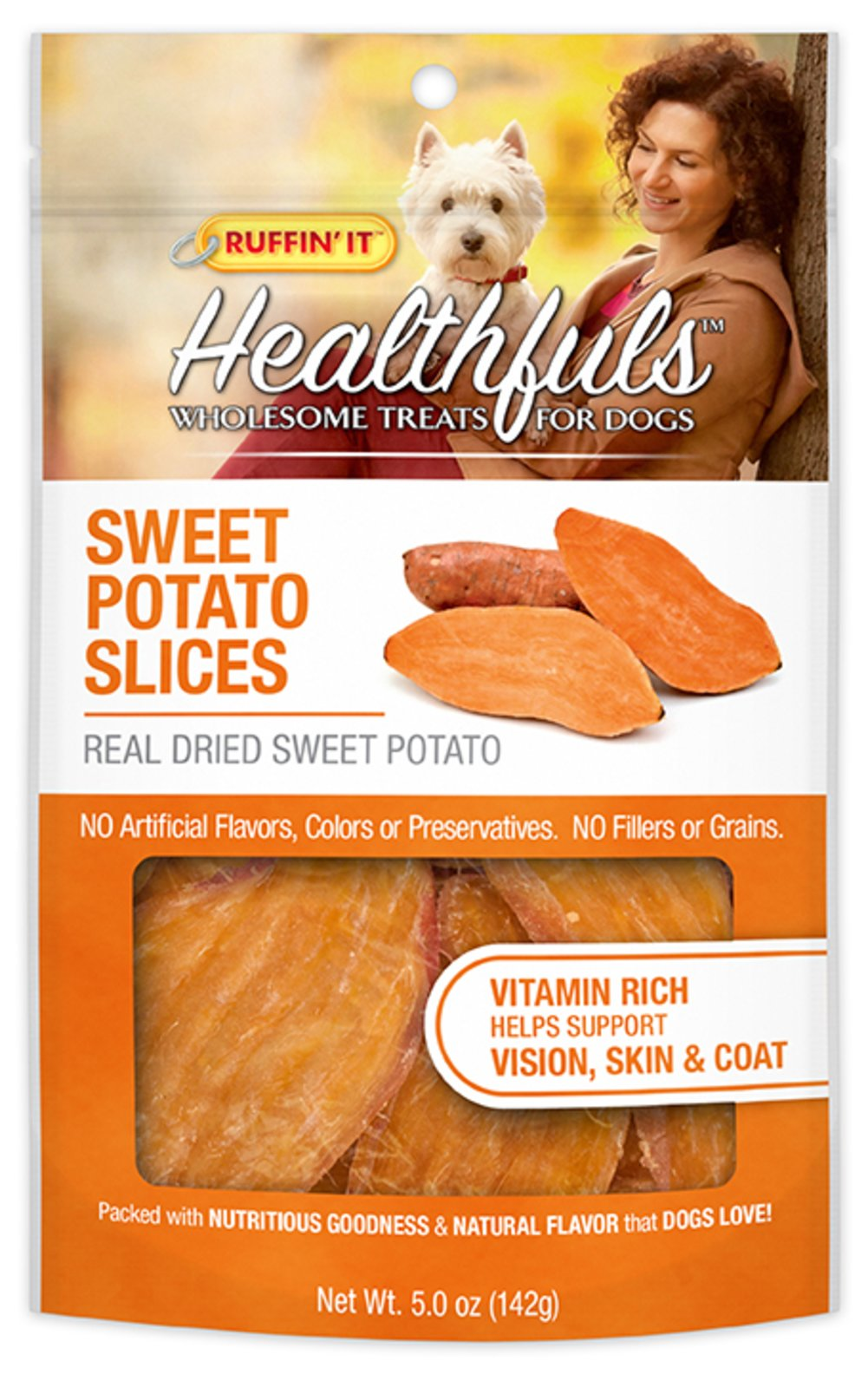 Healthfuls Wholesome Sweet Potato Slices Treats for Dogs Thumbnail Alternate Bottle View
