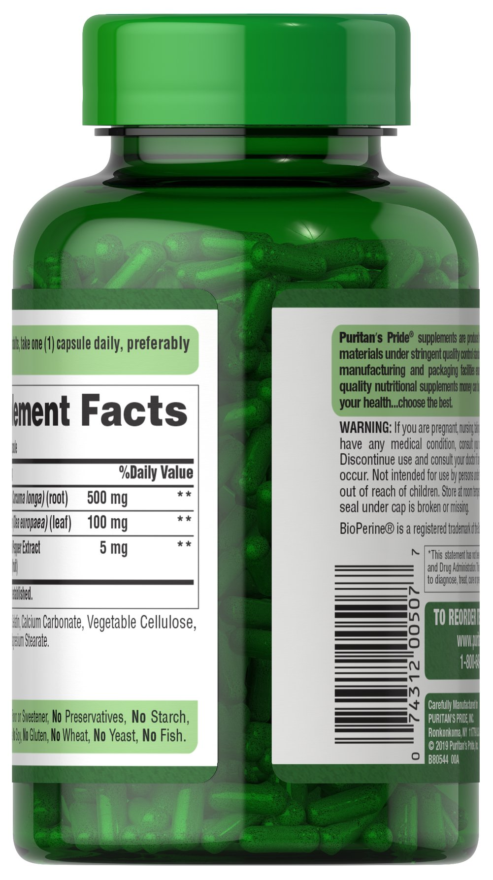 Turmeric 500 mg with Olive Leaf 100 mg & BioPerine® 5 mg Thumbnail Alternate Bottle View