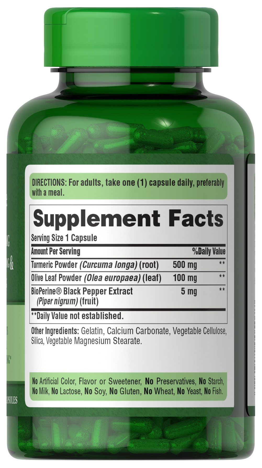 Turmeric 500 mg with Olive Leaf 100 mg & BioPerine® 5 mg